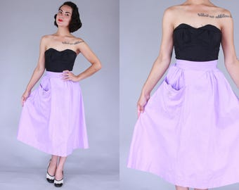 1950s Purple Pique skirt | extra small | vintage 40s 50s light purple cotton pique with rhinestone embellished pocket