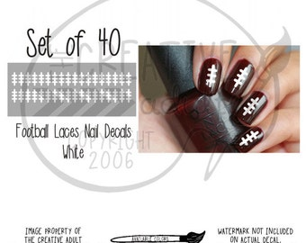 Football Laces Nail Decals - Set of 40 decals - Choice of color