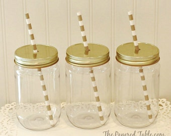 100 Plastic Mason Jars with Lids, Plastic Mason Cups