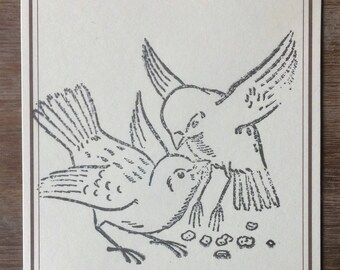 Stamped postcard, gift tag, birds