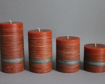 Sandal Wood Vanilla Scented & Rustic Pillar Candle Colored Through And Handmade In 4 Sizes