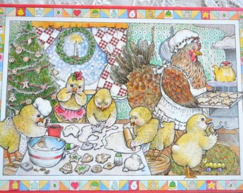 Vintage Christmas Card - Mother Hen and Chicks Baking Cookies - Used