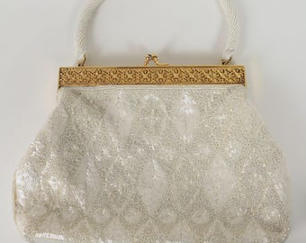 White Beaded Evening Handbag Hand Made in Hong Kong