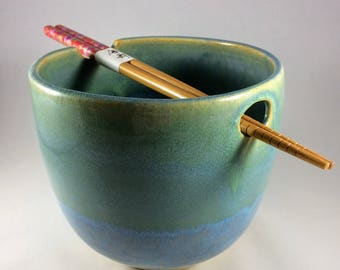 Ceramic Noodle Bowl in Blue and Green with Chopsticks