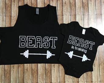 Beast, and Beast in training. Father and son set.