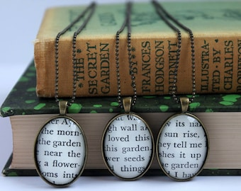 secret garden necklace - book page jewelry -  teacher pendant - gardener gift necklace - book club gift idea - literary holiday gift