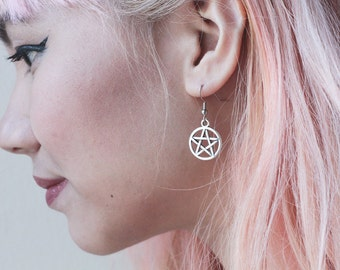 Pentagram Earrings and Choice of Witch Patch
