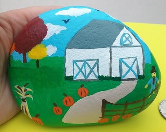 Original Countryside Country Barn Scene Hand Painted Rock Collectible