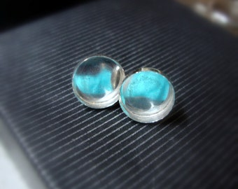 Bezel cup Earring blank mountings with backs in .925 sterling silver eco-friendly earring blanks, solid silver bezel - custom made- ONE Pair