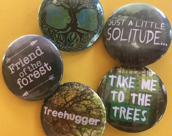 Take Me to the Trees Five Button Set, Tree of Life Pinback Button Sale, Discount Bulk Button Badges Pins Boho Buttons Treehugger, Forest Pin