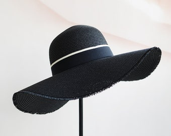 Black big eave straw hat folding straw hat children's beach sun hat for summer vacation.