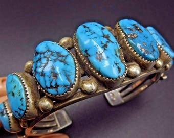 Vintage Navajo Sterling Silver & BLUE MORENCI TURQUOISE Cuff Bracelet 93g