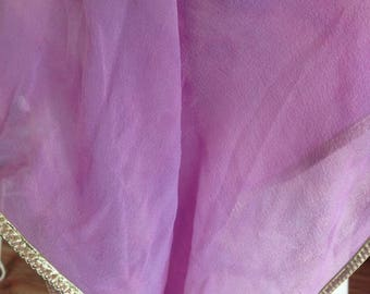 Pink Chiffon Belly Dance Veil with Gold Trim