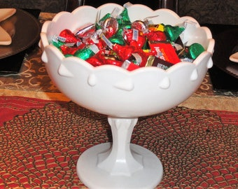 Mid Century 1960's Indiana Glass White Milk Glass Teardrop Scalloped Large Pedestal Bowl Without The Candy!