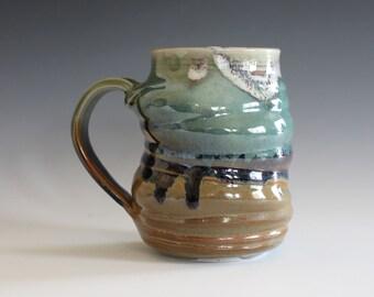 Handmade Coffee Mug, 14 oz, Ceramic Coffee Mug, handthrown ceramic mug, stoneware pottery mug, unique coffee mug