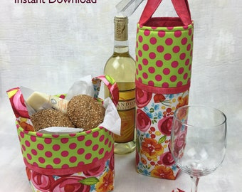 Wine Tote and Mini Basket PDF Sewing Pattern