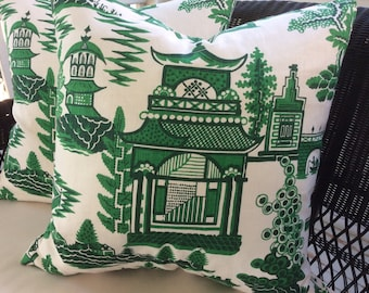 """Schumacher Pillow Cover in Jade Green and White """"Nanjing"""" Chinoiserie, White Linen Backing"""