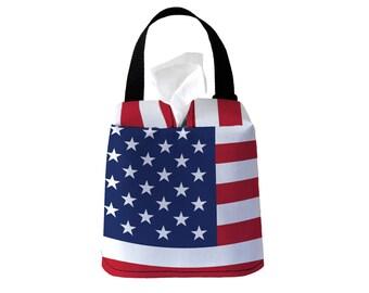 Auto Sneeze Box - USA American Flag - Car Accessory Automobile Caddy Tissue Case Tissue Box Cover Car Tissue
