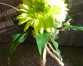 Rustic green handmade wedding bouquet, Country......Green daisy......