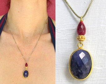 Sapphire & Ruby Pendant on Gold Vermeil Box Chain - Artisan Handmade Gemstone Jewelry