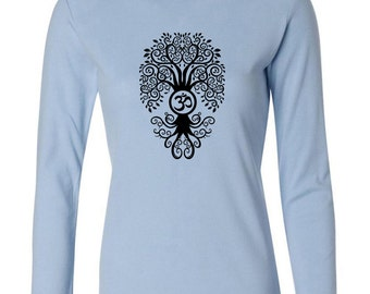 Yoga Clothing For You Ladies Shirt Black Bodhi Tree Long Sleeve Tee T-Shirt = 5001-BBODHI