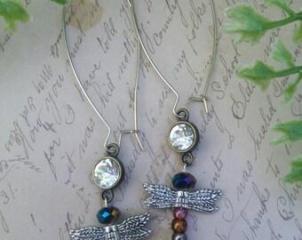Silver dragonfly earrings.