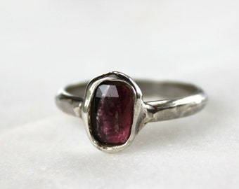 tourmaline ring, hand carved, pink tourmaline, silver ring, rose cut, double band, gifts for her, recycled silver