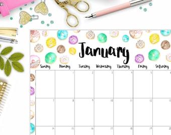 Donut Monthly Calendar, Full Sheet, PDF Download, Calendar, 2018 Calendar, Printable Calendar, PDF Calendar, Portrait Calendar, Planner