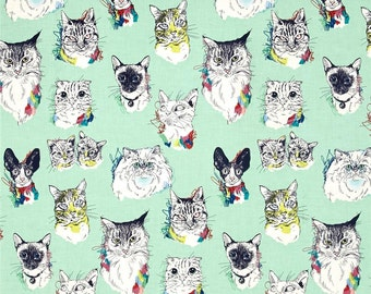Meow Wow Wow Cat Portraits Sea Glass By Alexander Henry Fabrics, Cat Lover Cat Lady