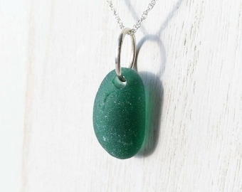 Forest Green Sea Glass & Sterling Silver Necklace