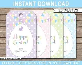 Printable Easter Tags - Easter Gift Tags - Easter Favor Tags - INSTANT DOWNLOAD with EDITABLE text - pdf template - you personalize at home
