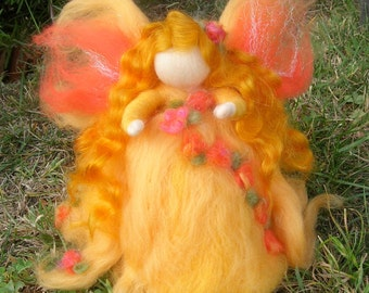 Ethereal Golden Garden Fairy -  Needle felted wool soft sculpture - Waldorf Inspired by Rebecca Varon
