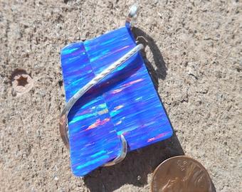 BEAUTIFUL Blu Gilson Opal Silver Wrapped Pendant