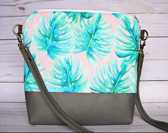 Ready to ship Palm leaves crossbody bag, palm leaf bag, palm leaves bag, tropical crossbody, spring crossbody, palm leaf crossbody bag