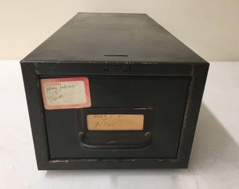 PRONTO Metal Library Card File / Vintage Single Drawer - Original Hardware