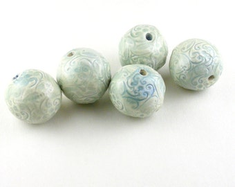 Blue Delicate Scroll Ceramic Beads, Blue Ceramic Beads, Delicate Scroll Beads, patterned beads, light blue beads, blue beads, handmade beads