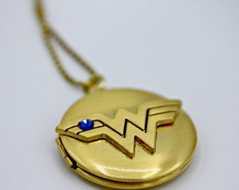 Gold Wonder Woman Locket on 30 inch Gold Ball Chain