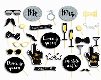 Wedding Photo Booth Props, Wedding Photobooth Props, Wedding Signs, Printables