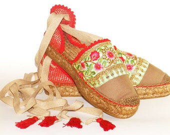 Platform espadrilles  sandals with Flower embroidery   Organic cotton  Alpargatas made in Spain