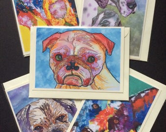 Dog greetings cards from my own artwork, Blank inside, Set of 5 different designs.