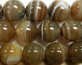 17mm round carmel brown agate beads 1 full strand (GSS-61)