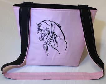 Pink and Black Embroidered Horse Purse