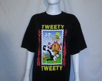Closing Shop SALE Tweety Bird Sylvester Cat t shirt, 90s stamp collection t shirt Looney Tunes