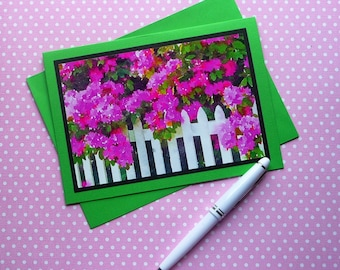 All-Occasion 5x7 greeting card, White Picket Fence, Pink Flowers, 4x6 glossy photo, Handmade, Fine Art, Waterlogue