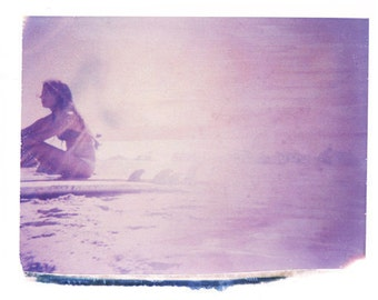 Gift for Surfer Girl Polaroid Transfer Art Print 11x14