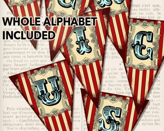 Printable Circus Banner Bunting whole alphabet party banner instant download digital collage sheet - VDBACI0923