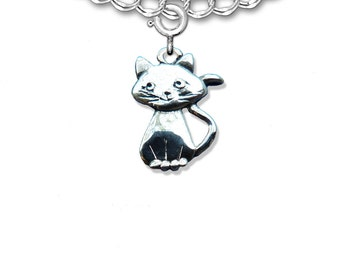 Sterling Silver Smiling Cat Charm