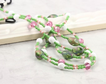 Spring Green Eyeglass Chain Pink Eyeglass Holder White Eyeglass Leash Crystal Beaded Lanyard Pastel Sunglass Lanyard Gift for Teacher