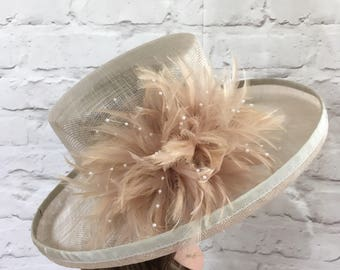 oyster, champagne, almomd formal wedding hat, kentucky derby, ascot