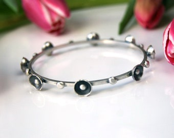 Made to Order ....... Cycle of Flowers - Sterling Silver Bangle
